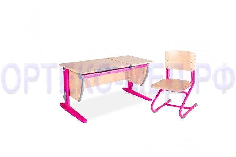 СУТ 17/04 клен/танзай розовый Стол универ. + Стул клен/танзай розовый