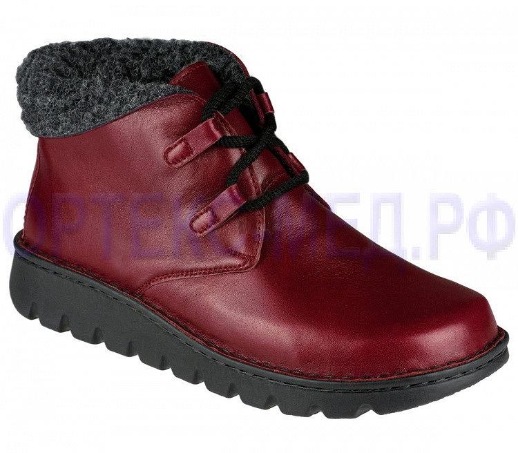 Красные зимние женские ботинки