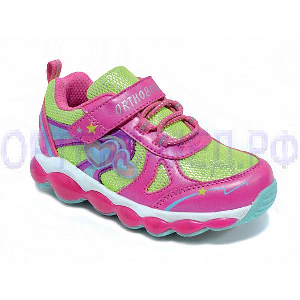 Детские ортопедические кроссовки Orthoboom 37054-02 розовый-ультра-зеленый