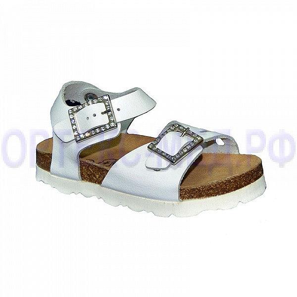 Детские ортопедические сандалии ORTMANN ADEN 7.48.2 белый с кристаллами