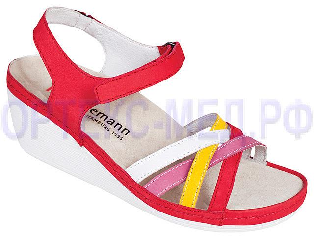 Женские ортопедические сандалии Berkemann Adina арт.01221-237 красный/белый/желтый/розовый
