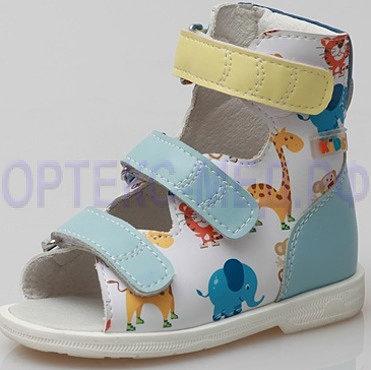 Детские ортопедические сандалии с высоким берцем ORTMANN Kids Etna 7.35.2 голубой принт