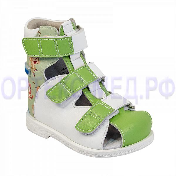 Детские ортопедические сандалии с высоким берцем ORTMANN Kids Dali 7.50.2 салатовый принт