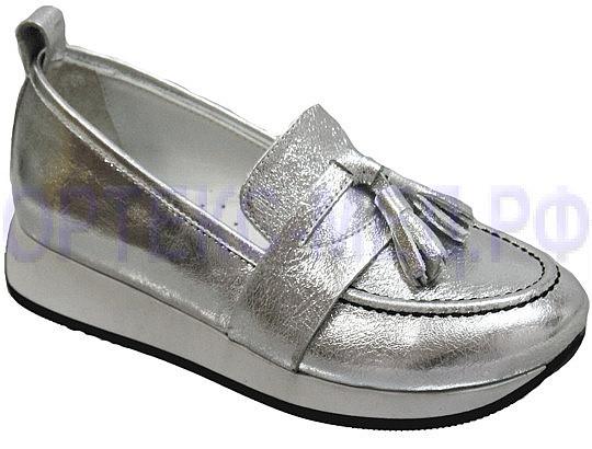 TIFLANI Туфли школьные 25F 7106/499 серебряная кожа