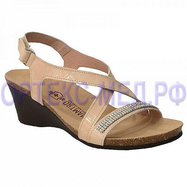 Женские комфортные туфли ORTMANN Martina C006.2 бежевый с кристаллами