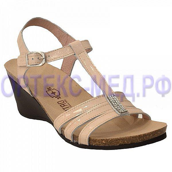 Женские комфортные туфли ORTMANN Flamenco C007.2 бежевый с кристаллами